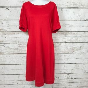 Gorgeous Tomato Red Ponte Knit Midi Dress Sz 14